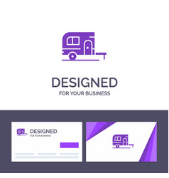 creative business card and logo template caravan vector image