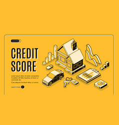 Credit score service isometric website vector