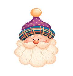 cute cartoon santa claus in purple hat vector image