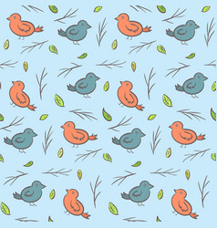 Cute childish pattern with colorful birds vector