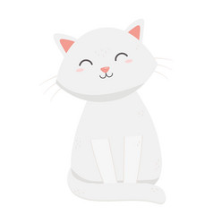 cute white cat sitting pet icon vector image