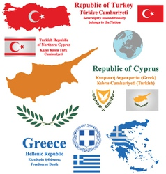 Cyprus Turkey and Greece vector image