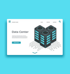 data center landing page isometric servers vector image