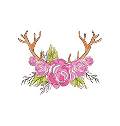 Deer horns with pink rose flowers hand drawn vector