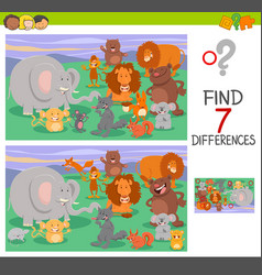 Differences game with animal characters vector