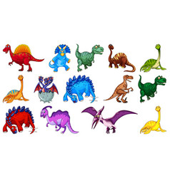 Different dinosaurs cartoon character and fantasy vector