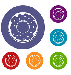 donut icons set vector image