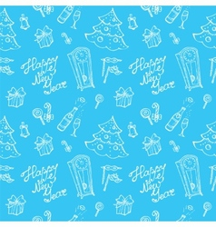 doodle New Year seamless pattern in sketch style vector image