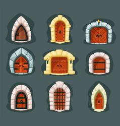 door medieval set gothic wooden gate entrance vector image