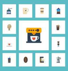 Flat icons arabica bean beverage espresso vector