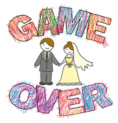 Funny wedding game over vector