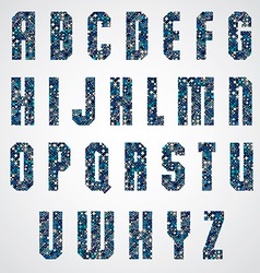 Geometric letters decorated with blue pixel vector