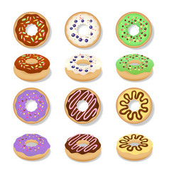 glazed doughnut set vector image
