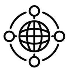 Global collaboration icon outline style vector