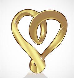 golden swirly heart icon vector image