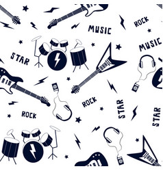 hand drawing musical icons seamless pattern vector image
