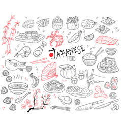 Hand drawn japanese cuisine elements set vector