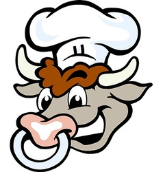 Hand-drawn of an Happy Bull Chef Head vector