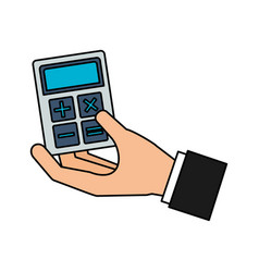 hand holding business calculator vector image