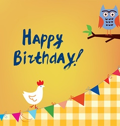 Happy birthday card for the kids with owl and vector