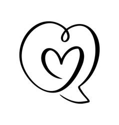 Heart love icon and bubble speech symbol logo vector