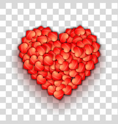 Heart shape of hearts on transparent grid vector image