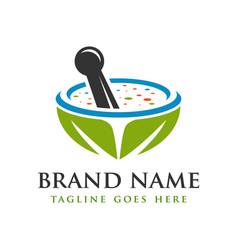 herbal medicine herb logo design vector image
