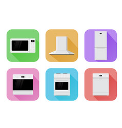 home appliances set of colored icons vector image