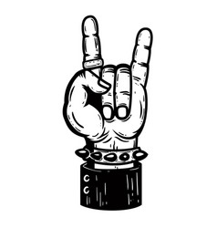 Human hand with rock and roll sign design element vector