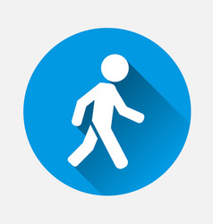 Icon a walking pedestrian on blue background vector