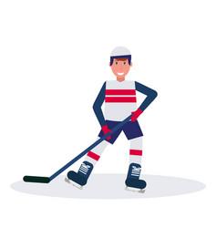joyful ice hockey player holding stick skating vector image