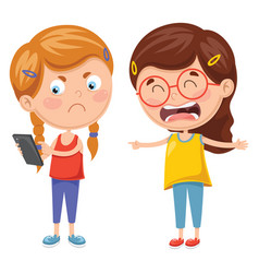 Kids fighting for smartphone vector