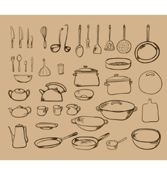 Kitchen tool collection - silhouette vector image