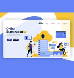 landing page flat design online exams vector image