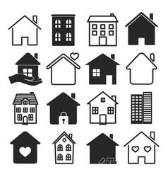 large set black and white house icons vector image