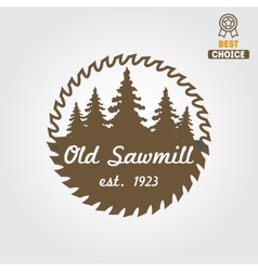 Logo label badge for sawmill carpentry vector