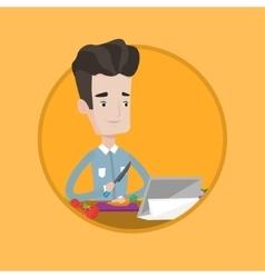 Man following recipe on digital tablet vector