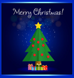 merry christmas greeting card of cute fir tree vector image