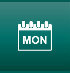 Monday calendar page pictogram icon simple flat vector