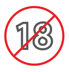 no 18 plus line icon prohibited and ban age vector image