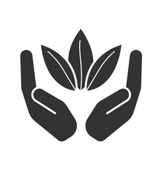 open palms with tea leaves glyph icon vector image