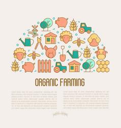 organic farming concept in half circle vector image
