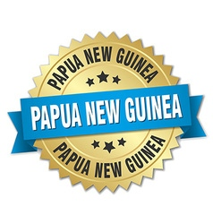 Papua New Guinea round golden badge with blue vector