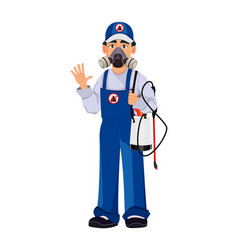 Pest control worker in protective workwear vector