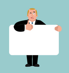 president holding banner blank boss and white vector image