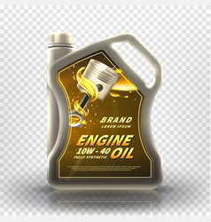 Realistic canister with engine oil vector