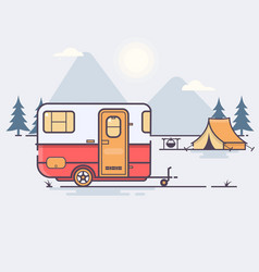 Retro caravan on the forest vector