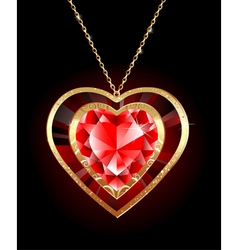 ruby heart on a gold chain vector image