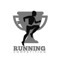Running competition emblem with cup and human vector