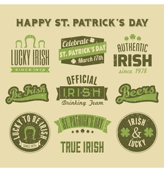 saint patricks day vintage green design elements vector image